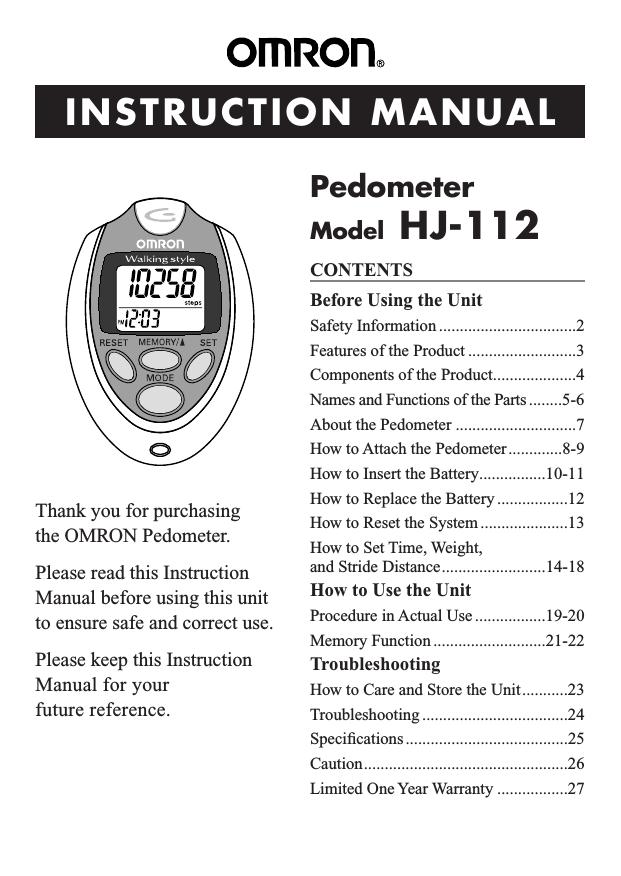 Omron healthcare gosmart hj-112 user's manual   manualzz.