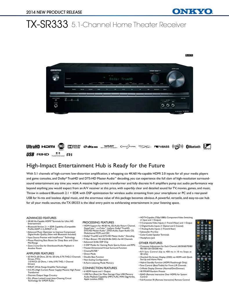 Onkyo TX-SR333 Product Sheet   manualzz com