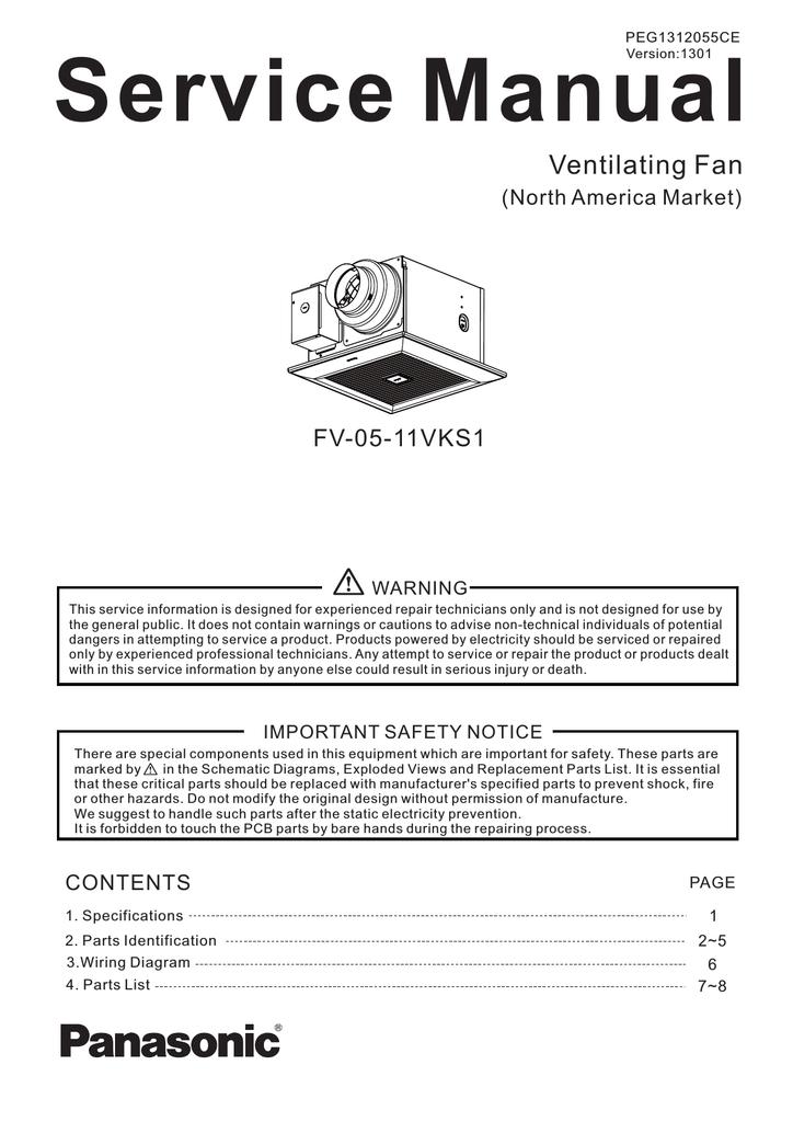 Panasonic Fv 05 11vks1 Service Manual Manualzz