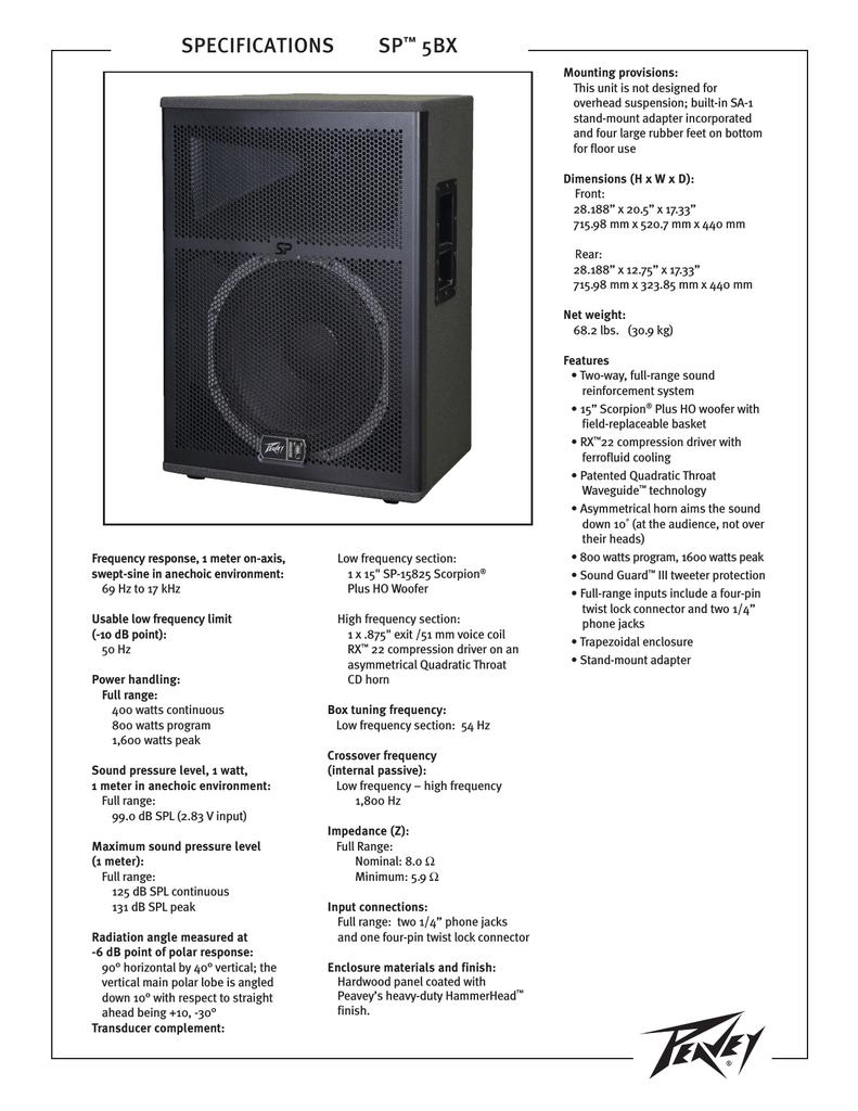 Peavey SP5BX User's Manual | manualzz com