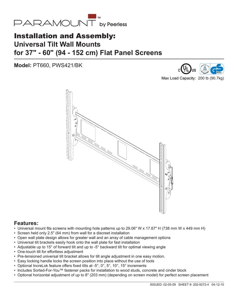 peerless industries paramount pt660 user's manual | manualzz