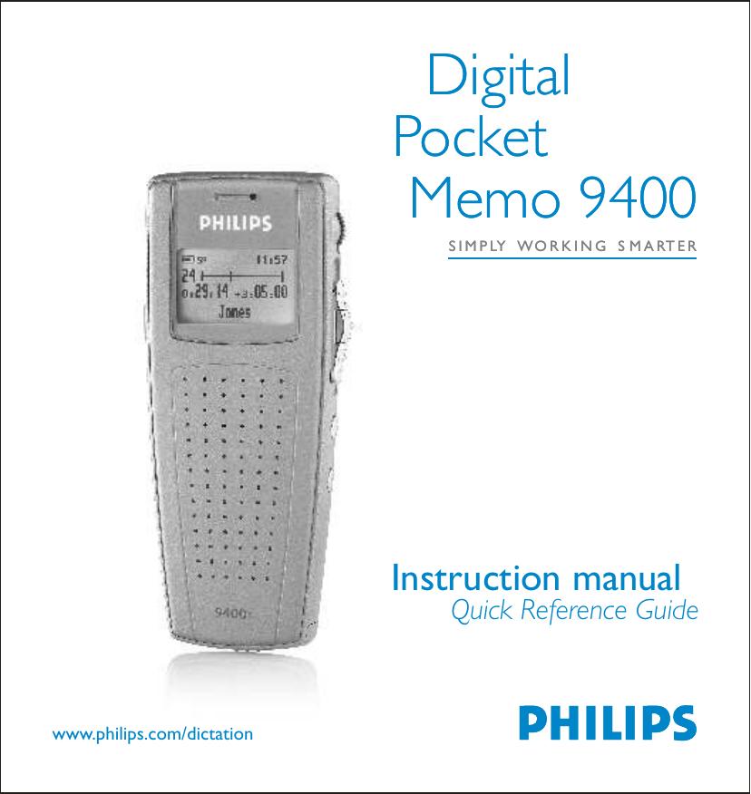 Philips Digital Pocket Memo 9400 User's Manual | manualzz com