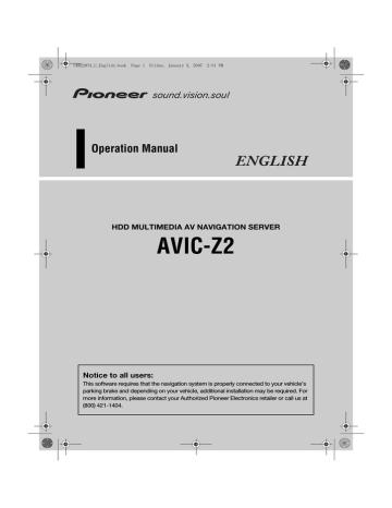Manual avic-mrz02 english pioneer carrozzeria Pioneer Carrozzeria