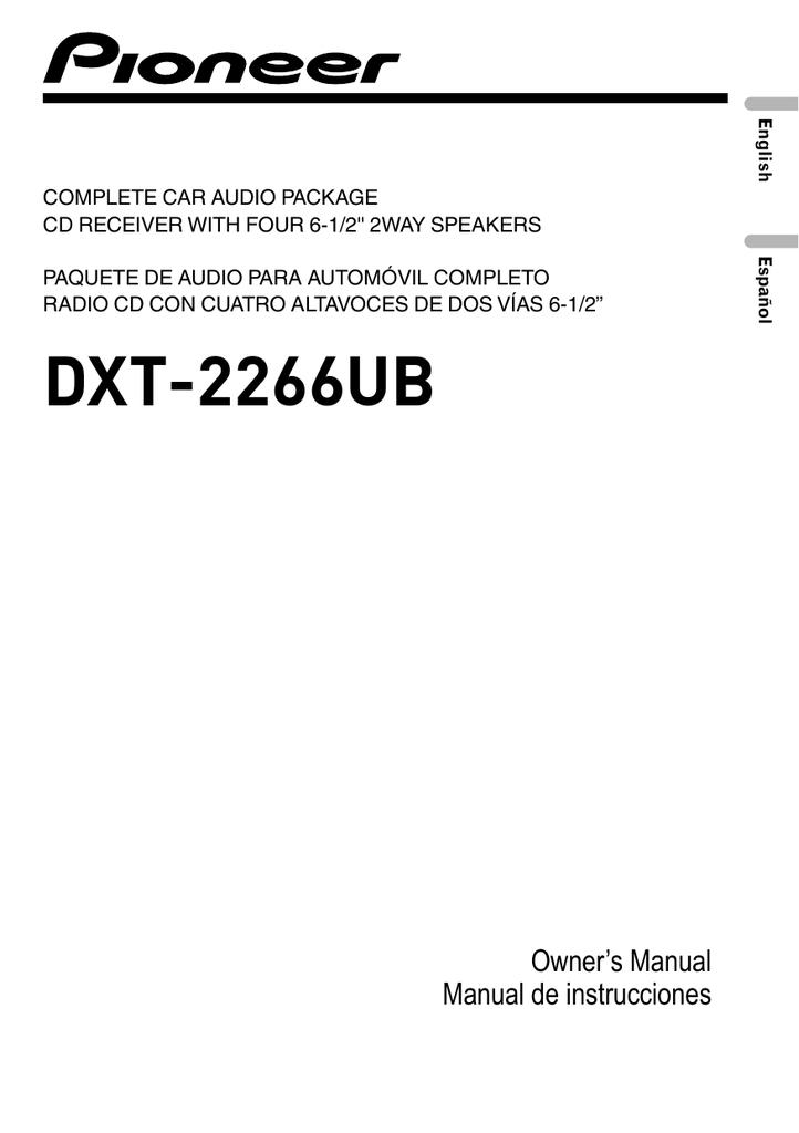 Pioneer Dxt 2266ub User Manual Manualzz, Pioneer Dxt-2266ub Wiring Diagram