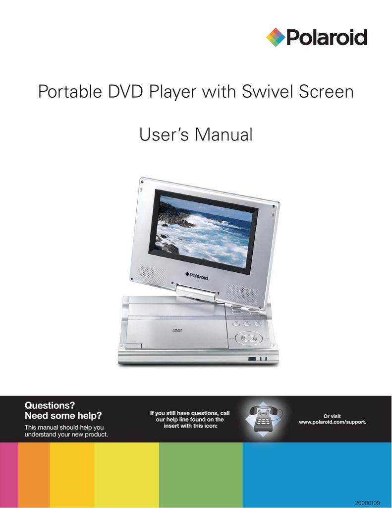 polaroid portable dvd player with swivel screen user s manual rh manualzz com Walmart Dual Portable DVD Player Polaroid Portable DVD Player Battery
