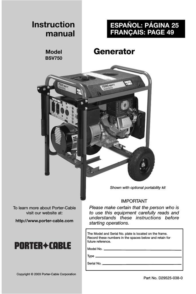 Porter Cable Bsv750 User S Manual Manualzz