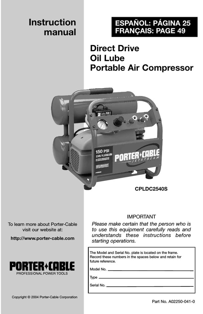 Porter Cable Cpldc2540s User S Manual Manualzz