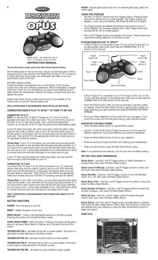 Radica Games OPUS 8046 User's Manual | manualzz com