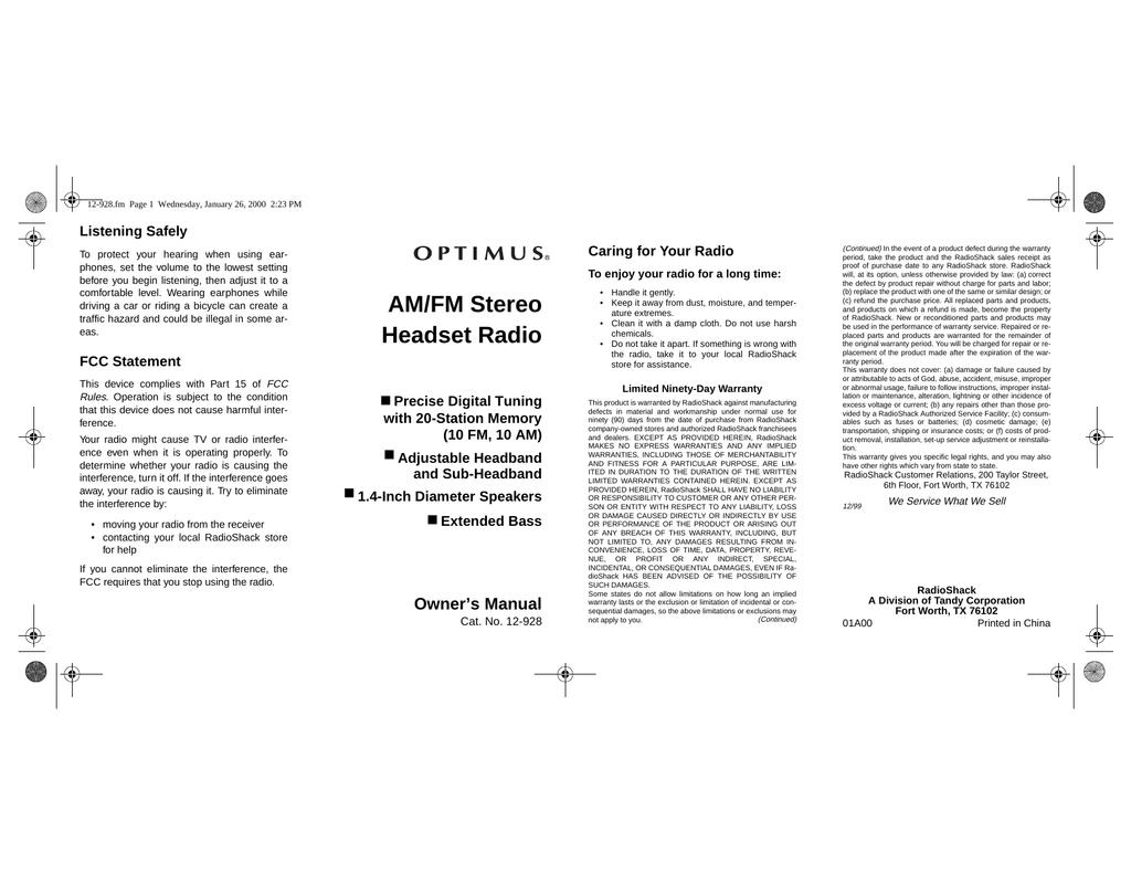 Radio Shack 12-928 User's Manual | manualzz com