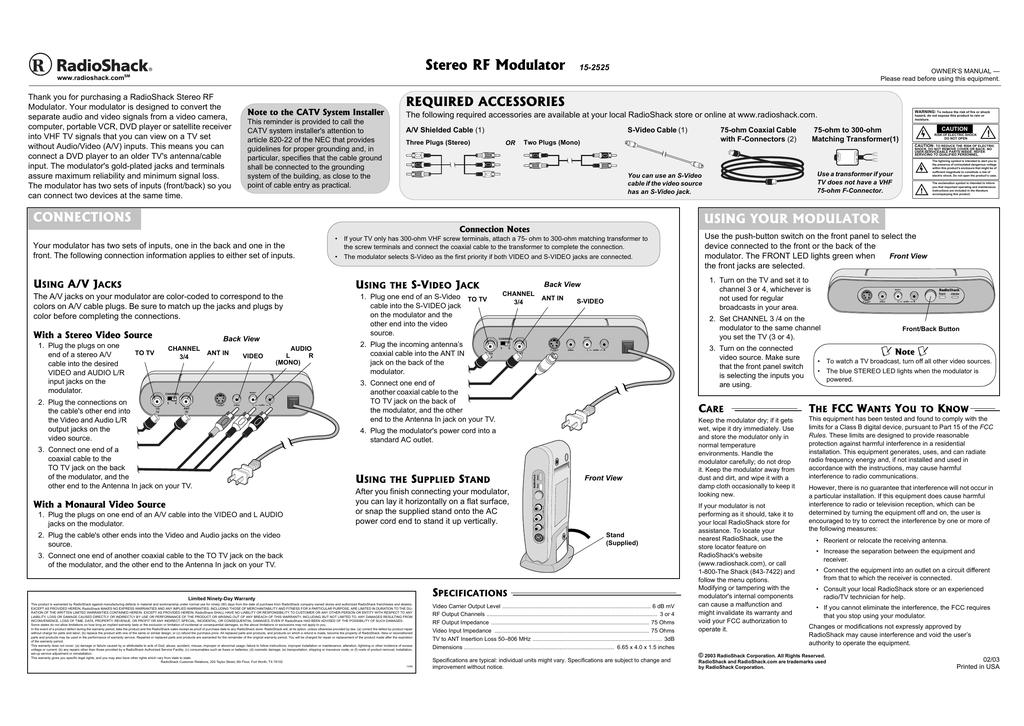 Radio Shack 15 2525 User Manual Manualzz