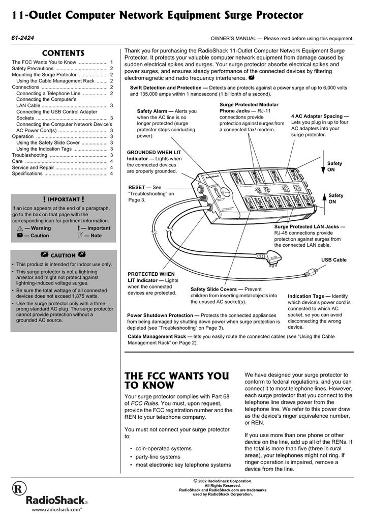 radio shack 61-2424 user's manual