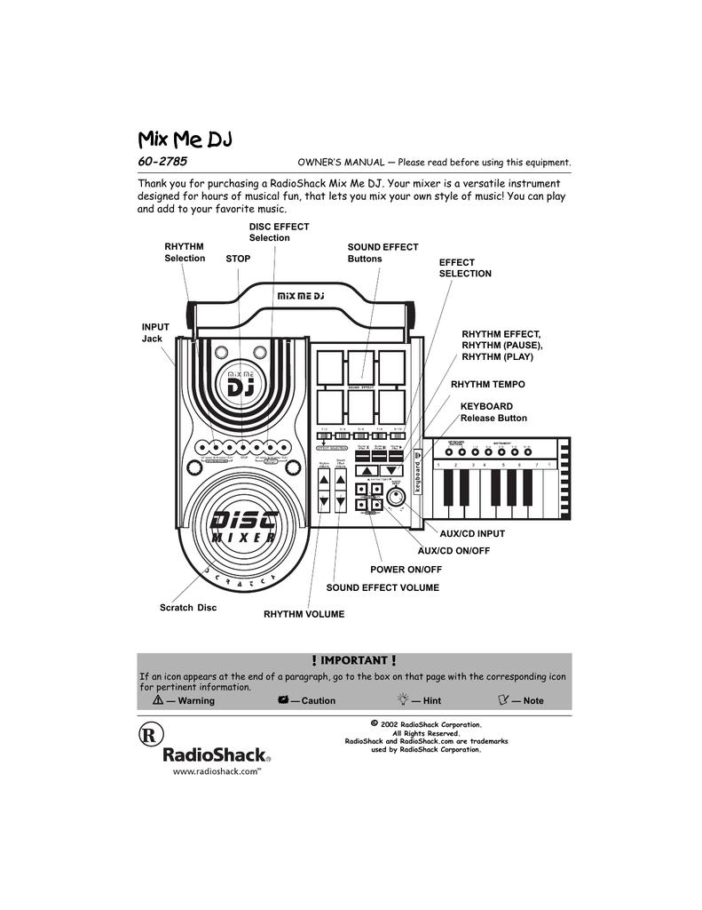 Radio Shack MIX ME DJ 60-2785 User's Manual | manualzz com