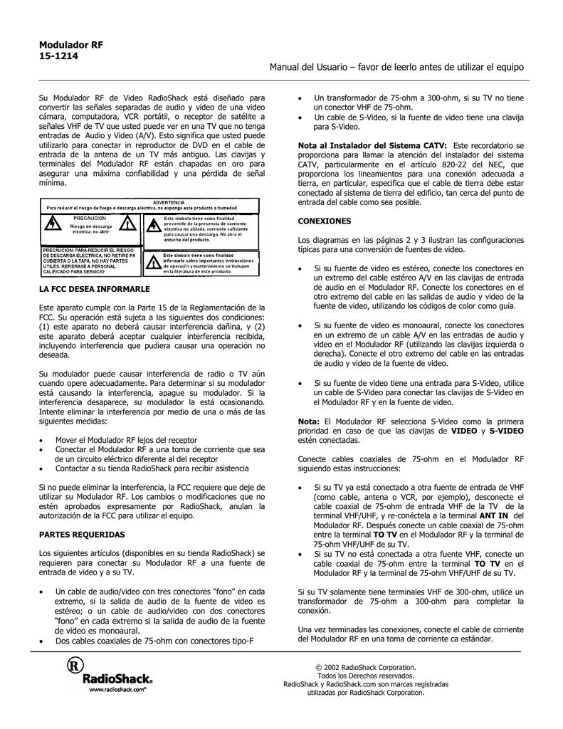 Radio Shack Modulador Rf 15 1214 User Manual Manualzz