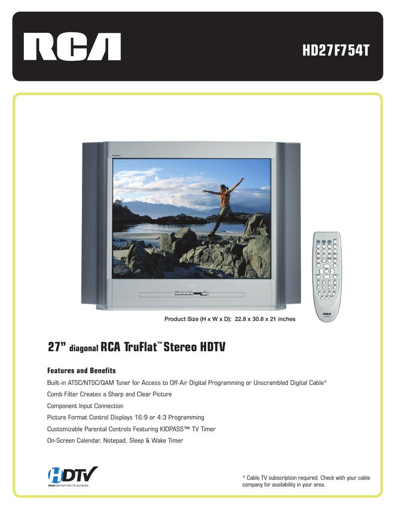 rca truflat hd27f754t user s manual manualzz com rh manualzz com RCA Tube TV RCA TruFlat Problems