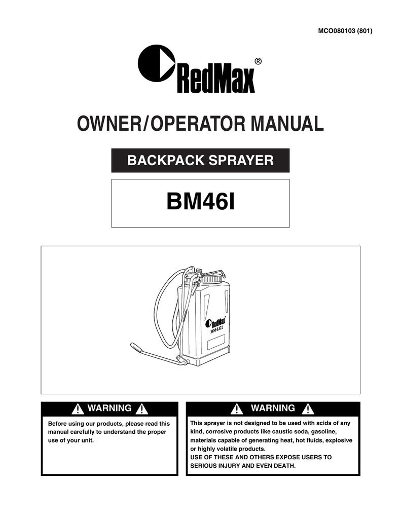 RedMax BACKPACK BM461 User's Manual | manualzz com