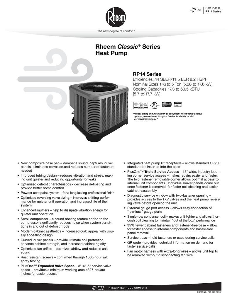 Rheem Rp14 Specification Sheet Manualzz