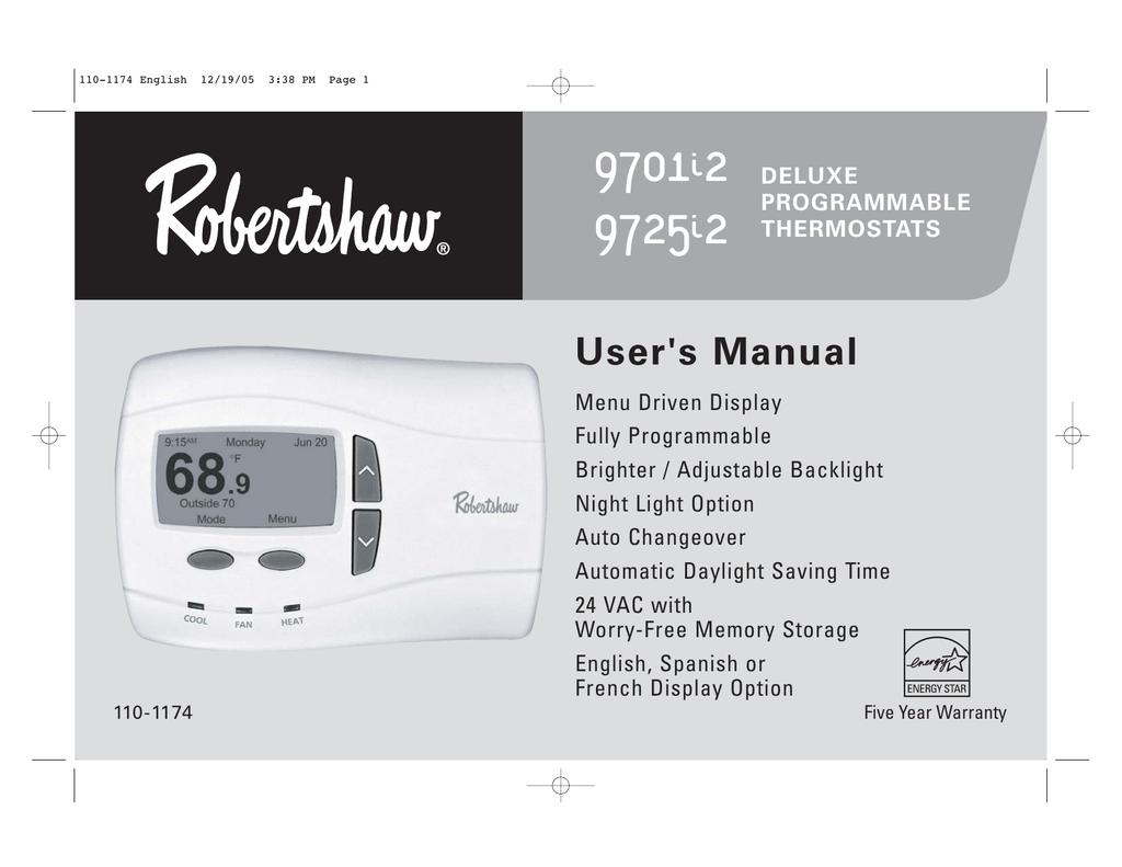 Robertshaw 9701i2 Wiring Diagram
