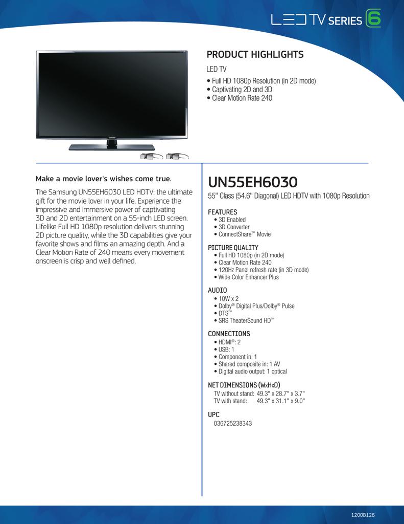 Samsung UN55EH6030 User's Manual | manualzz com