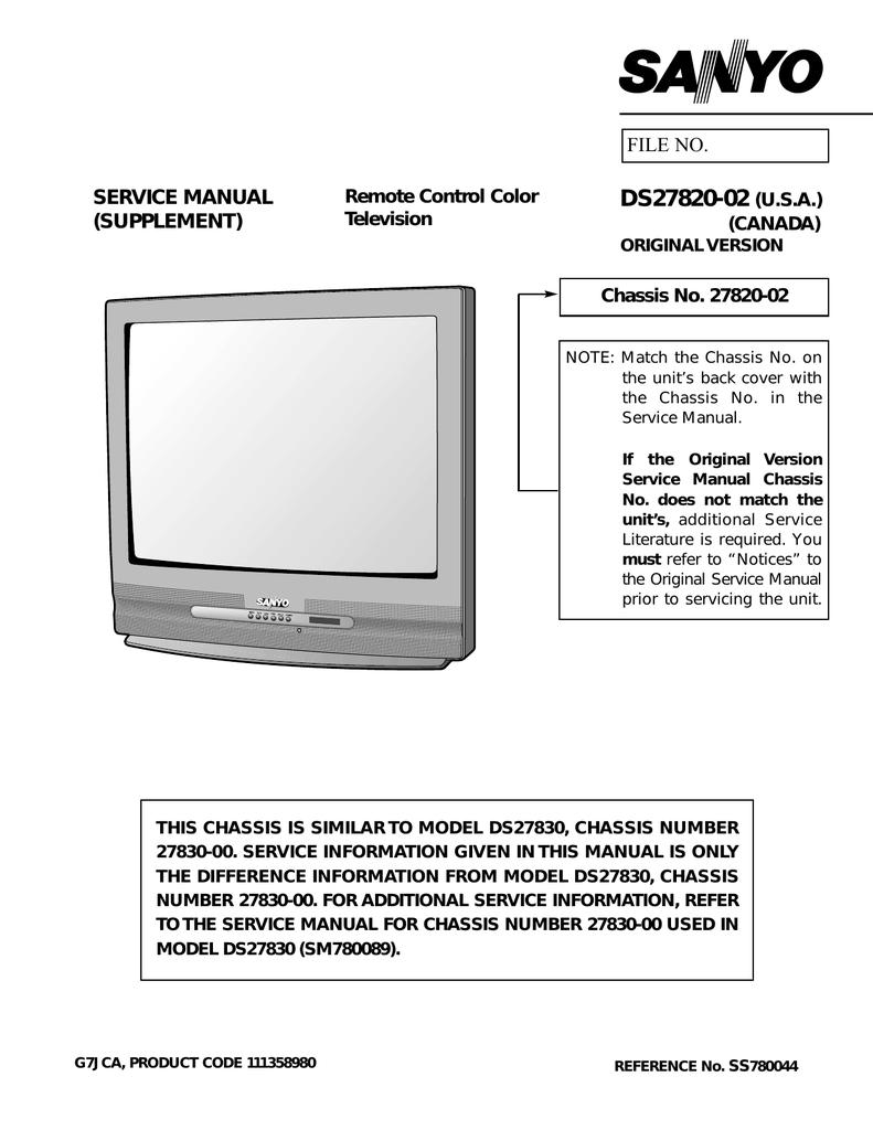 Sanyo DS27820-02 User's Manual | manualzz com