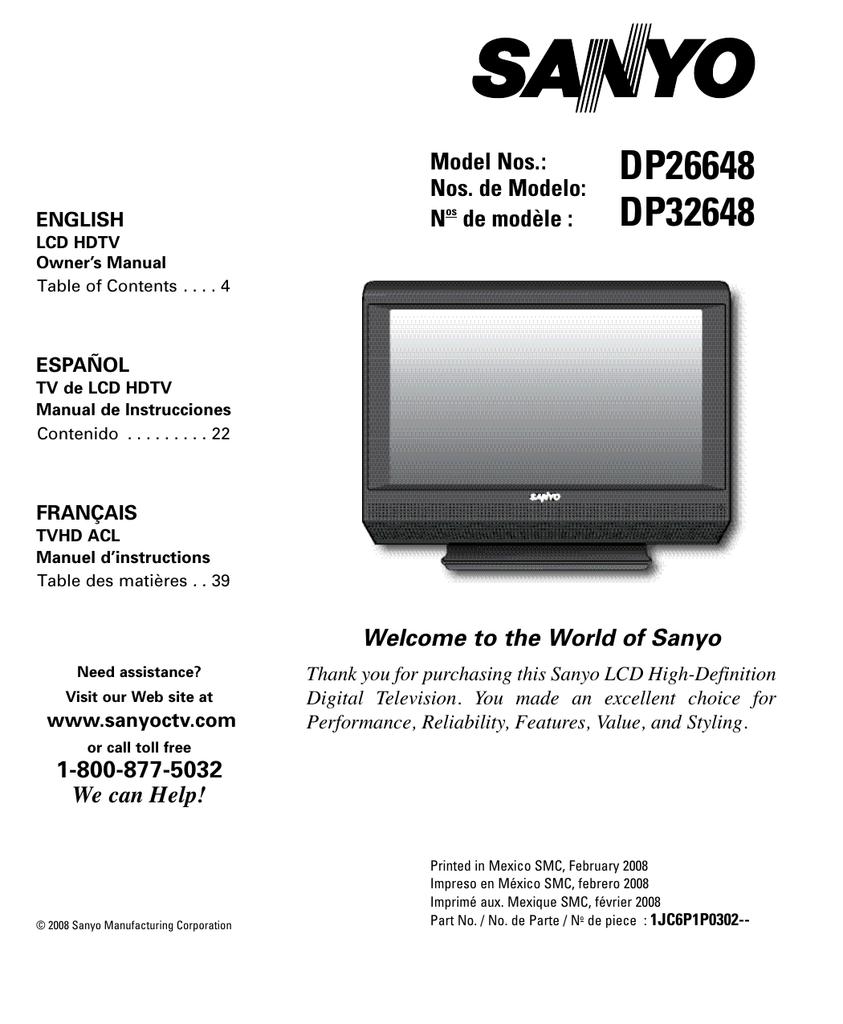 sanyo dp32648 user s manual manualzz com rh manualzz com sanyo tv manual fw32d06f sanyo tv manuals download