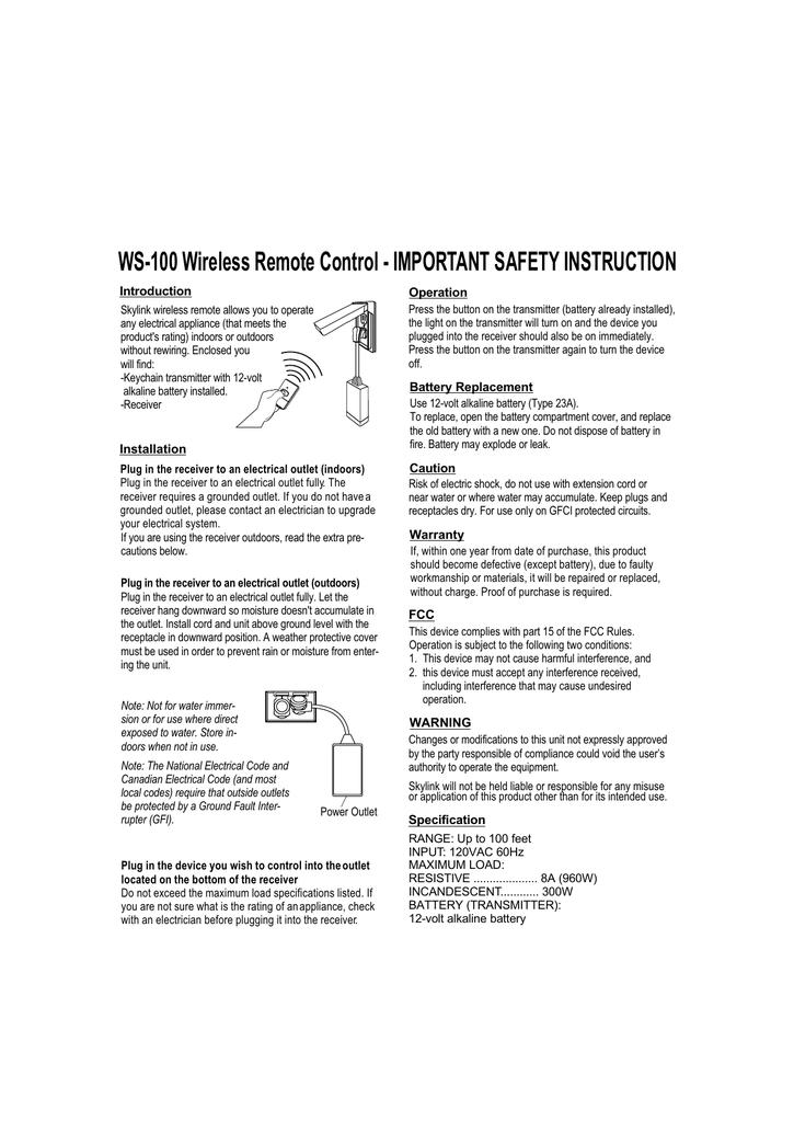 SkyLink WS-100 User\'s Manual | manualzz.com