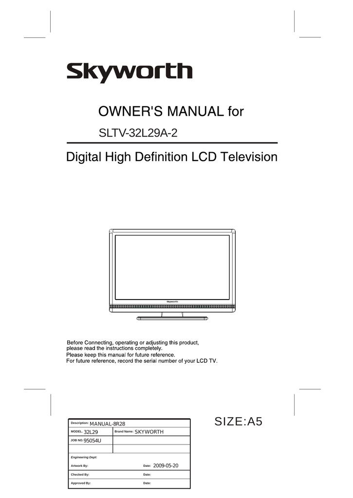 Skyworth SLTV-32L29A-2 User's Manual   manualzz com