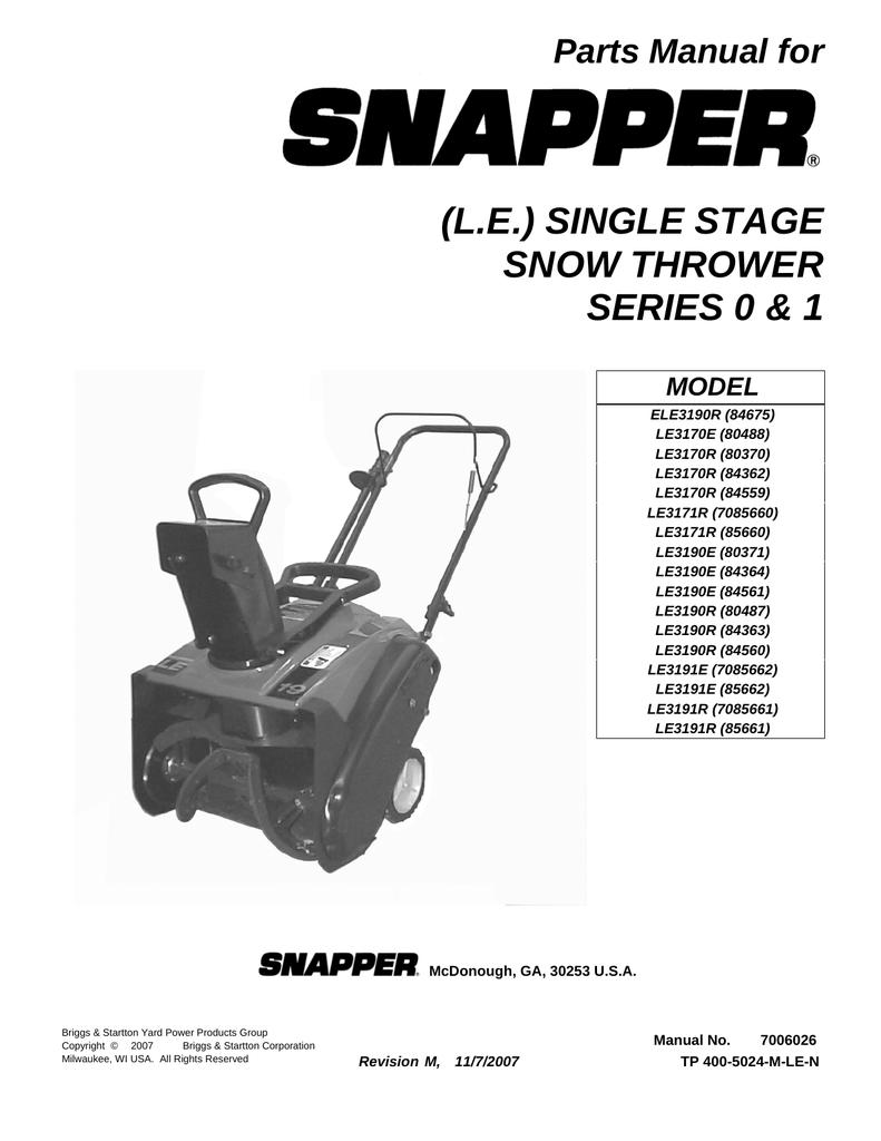 snapper le3170e user s manual manualzz com rh manualzz com Snapper Snow Thrower Parts Snapper Snow Thrower Parts