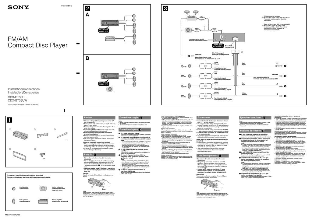 sony cdxgt35uw installation guide  manualzz