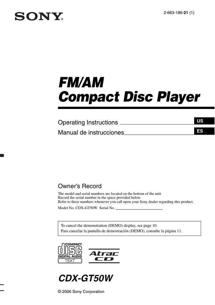 sony cdxgt50w user manual  manualzz