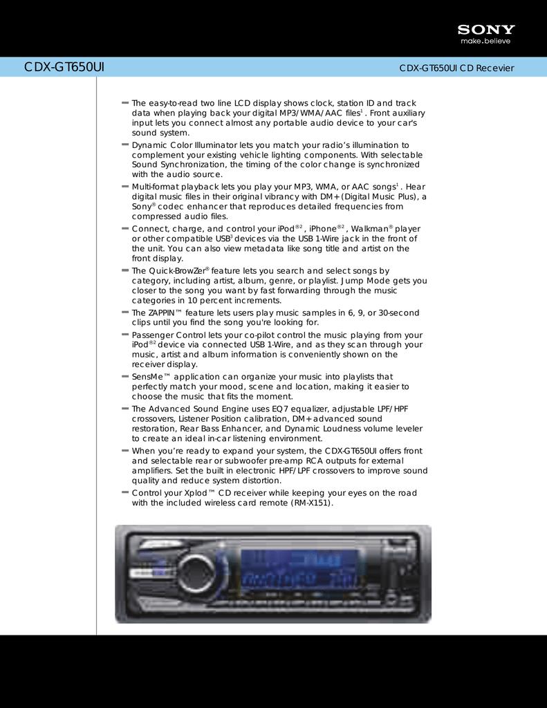 Sony CDX GT650UI User's Manual | manualzz.com Xplod Sony Cdx Gt Uiw Wiring Diagram on