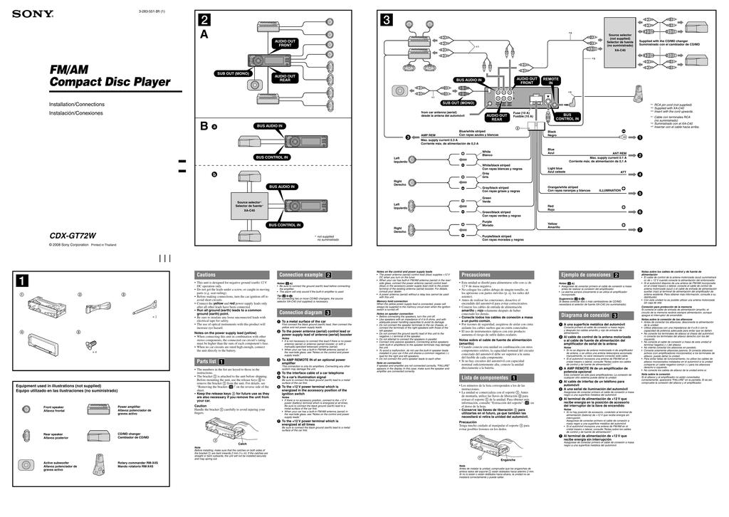 sony cdxgt72w installation guide  manualzz