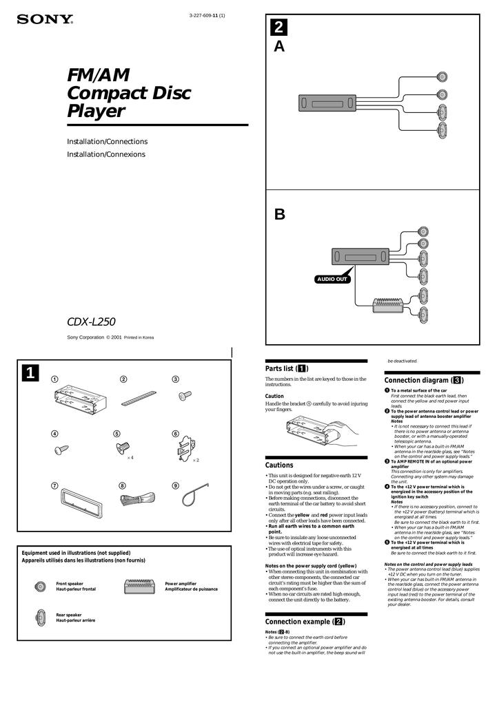Sony Cdx L250 Installation Guide Manualzz