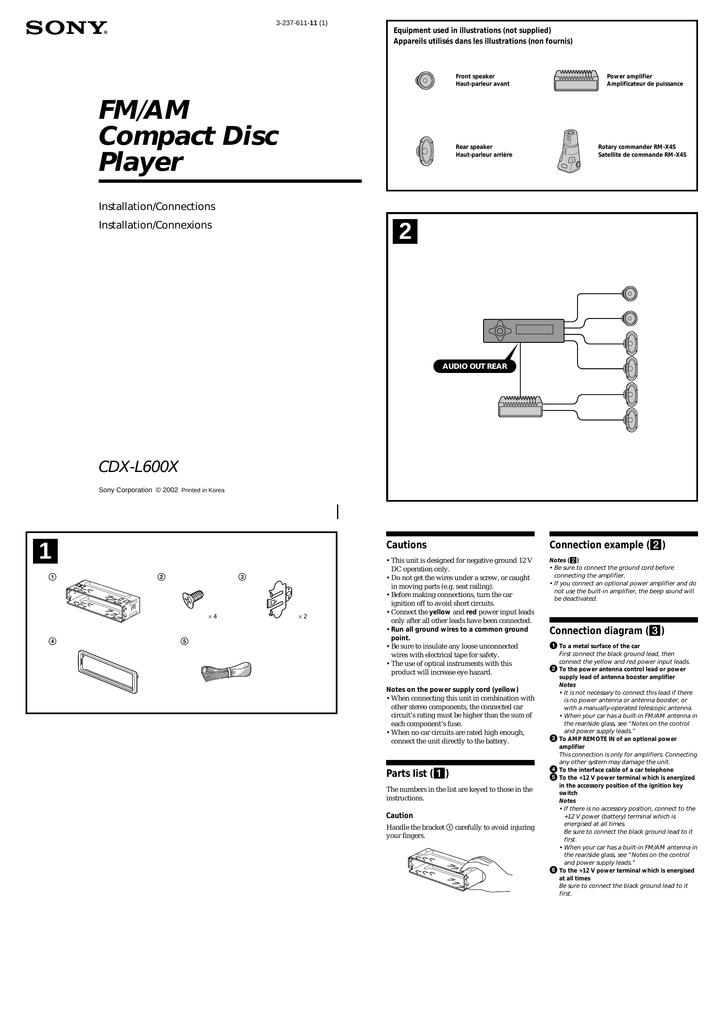 Sony CDX-L600X Installation guide | Manualzzmanualzz