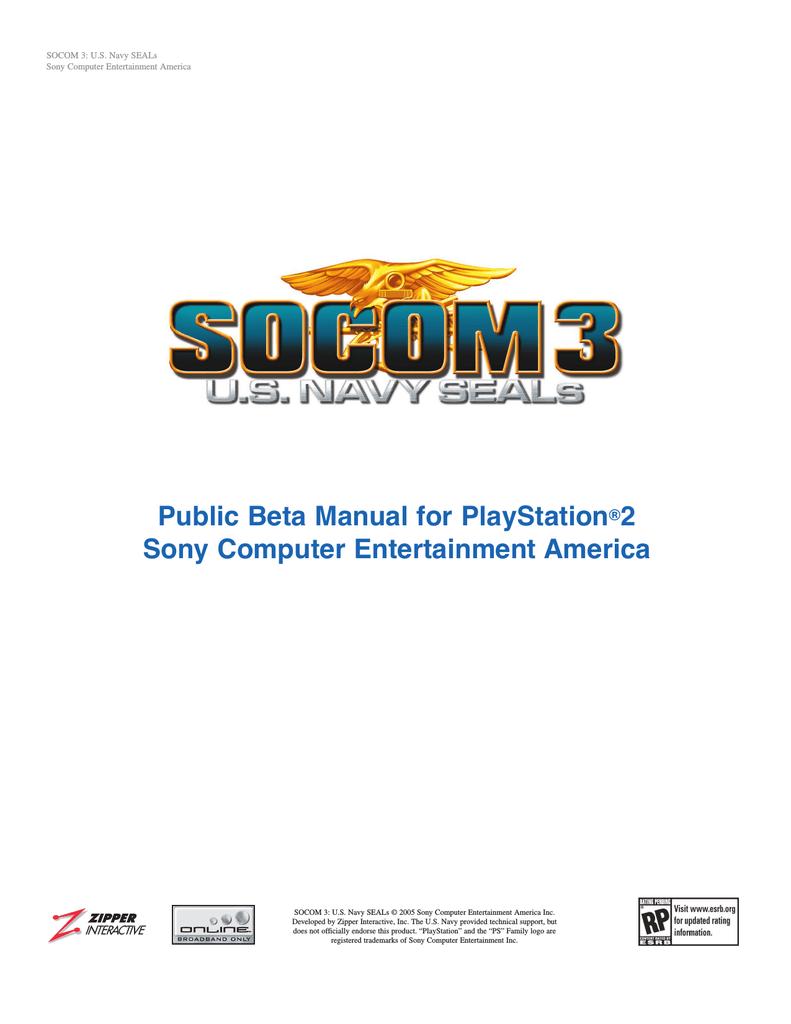 Sony SOCOM 3 User's Manual | manualzz com