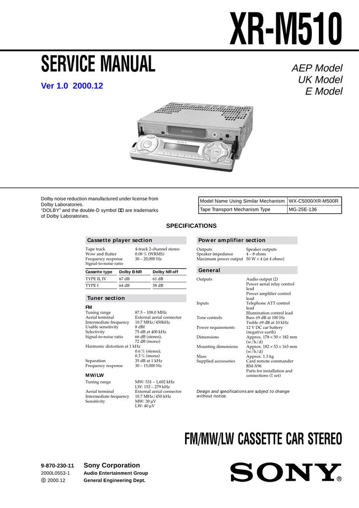 Sony XR-M510 User's Manual   manualzz.com on