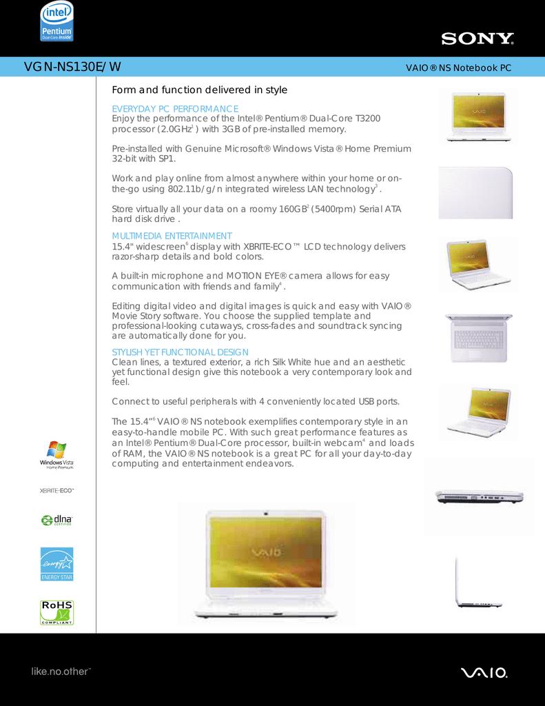 Sony VGN-NS130E/W Marketing Specifications | manualzz com