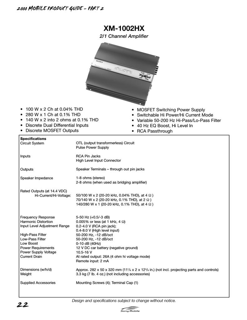 Sony Xm 1002 Hx Marketing Specifications Mosfet Amplifier Otl 100w By K1058j162