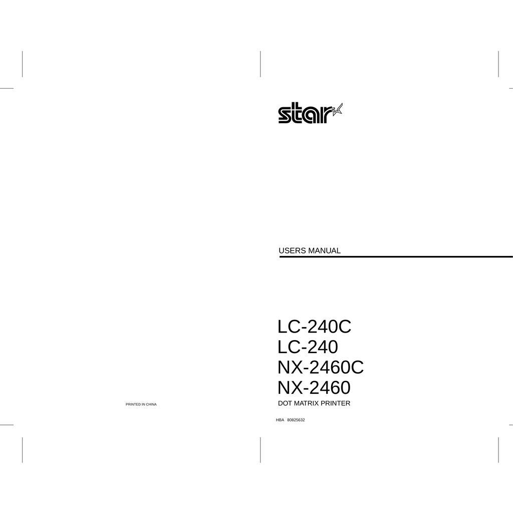 Star Micronics NX-2460 User's Manual | manualzz com
