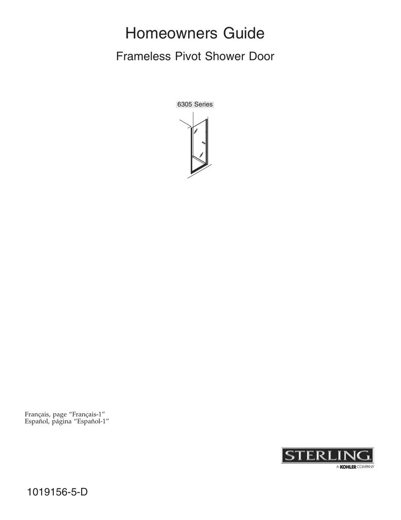 Sterling Plumbing Frameless Pivot Shower Door 6305 Series