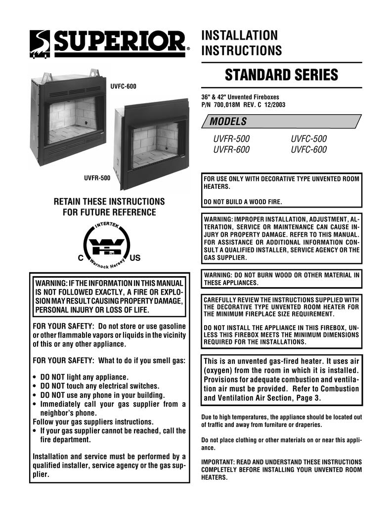 superior uvfr 600 user u0027s manual