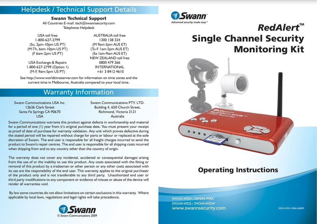 Swann REDALERT SW242-WRA User's Manual | manualzz com