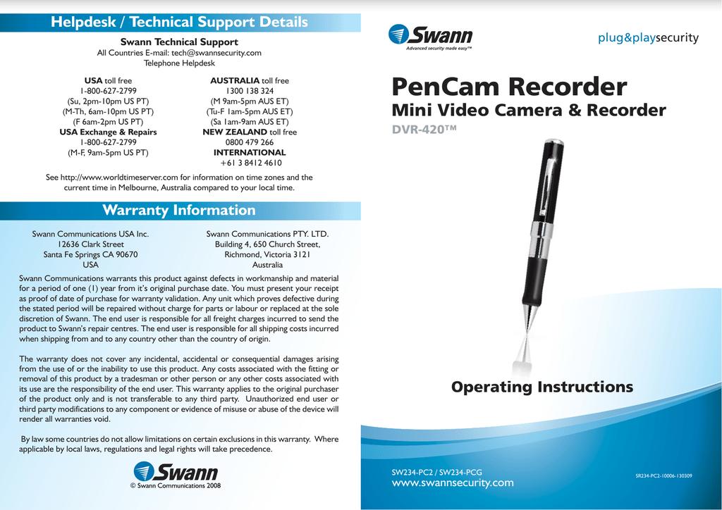 Swann SW234-PC2 User's Manual | manualzz com