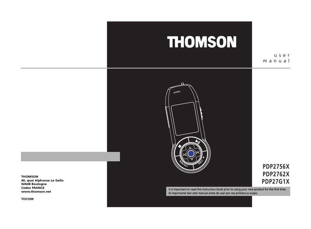 Technicolor - Thomson PDP2756X User's Manual | manualzz com