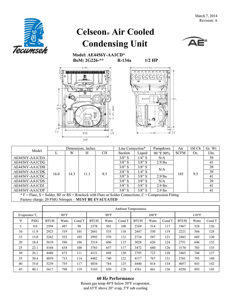 Tecumseh Ae4456y Aa1cda Performance Data Sheet Manualzz
