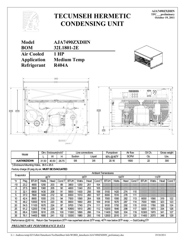 tecumseh aja7490zxdhn performance data sheet