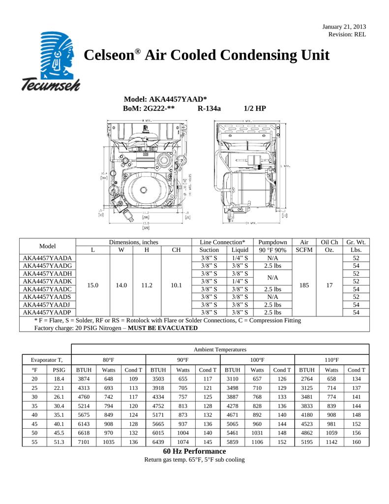 Tecumseh Aka4457yaada Performance Data Sheet Manualzz