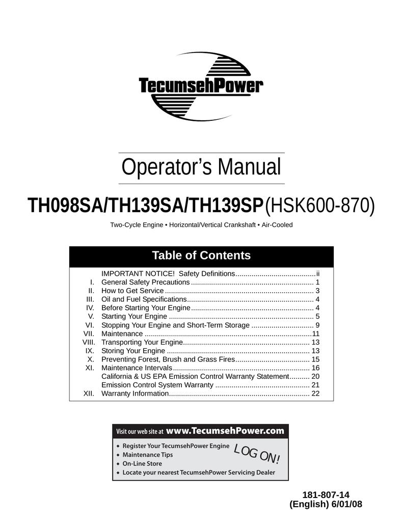 Tecumseh Th139sa User Manual Manualzz