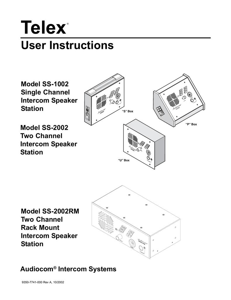 telex ss-1002 user's manual