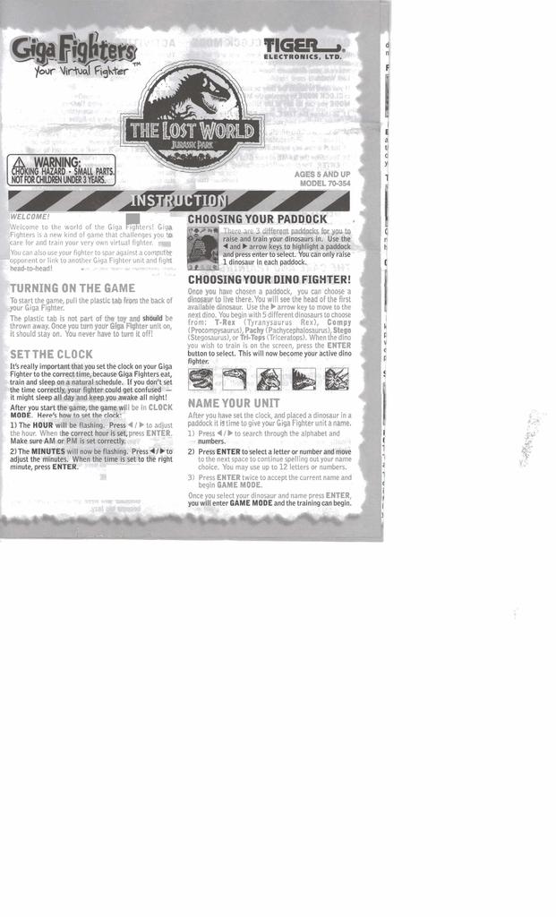 Tiger Giga Fighters 70-354 User's Manual | manualzz com