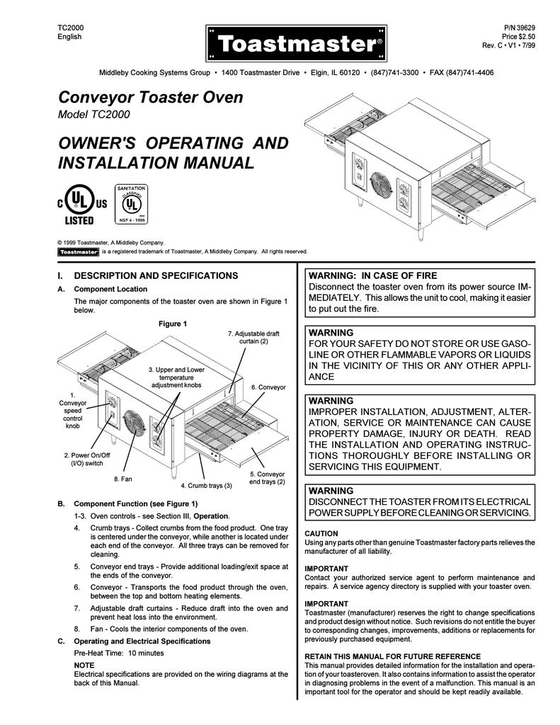 Toastmaster CONVEYOR TC2000 User's Manual | manualzz com